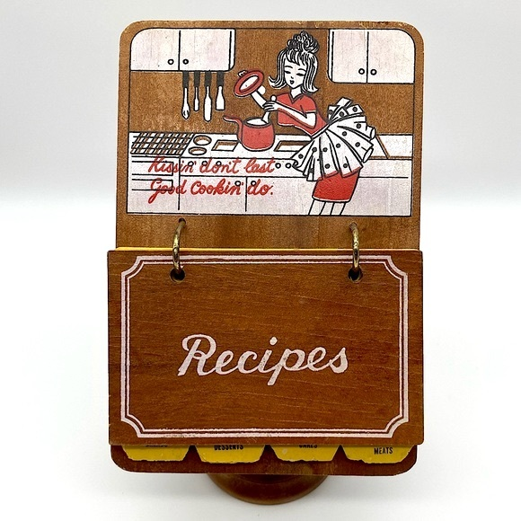 Vintage kitschy wood recipes holder stand